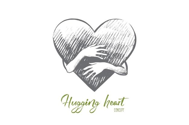 Ilustração do conceito de coração abraçando