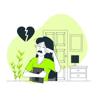Ilustração do conceito de coração partido