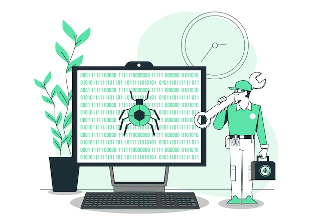 Ilustração do conceito de correção de bug