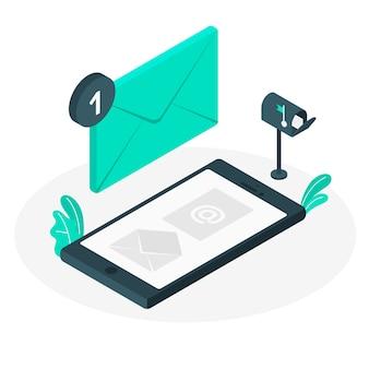 Ilustração do conceito de correio