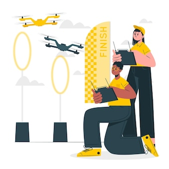 Ilustração do conceito de corrida de drones