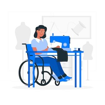Ilustração do conceito de costureira