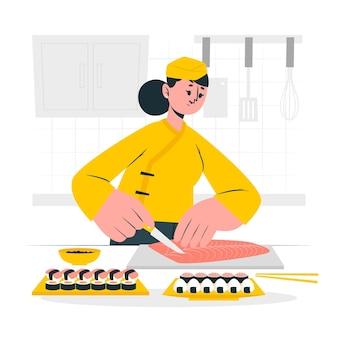 Ilustração do conceito de cozinheiro de sushi