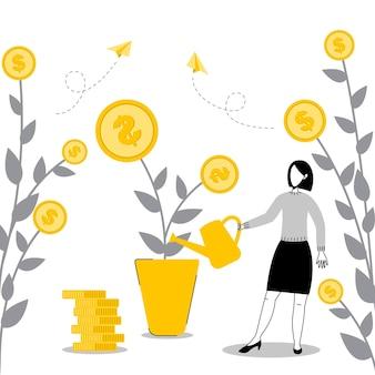 Ilustração do conceito de crescimento de receita e investimentos