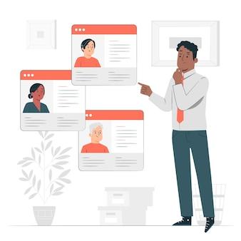 Ilustração do conceito de criação de perfil