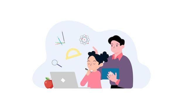 Ilustração do conceito de crianças tendo aulas online