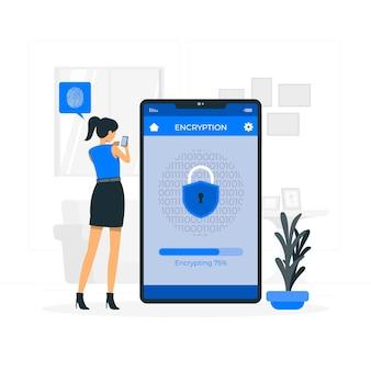 Ilustração do conceito de criptografia móvel