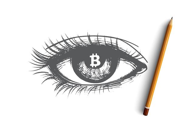 Ilustração do conceito de criptomoeda