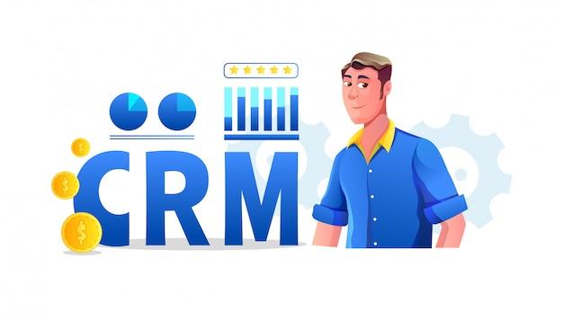 Ilustração do conceito de crm (gestão de relacionamento com cliente) com estatísticas empresariais e adolescente cliente está revendo