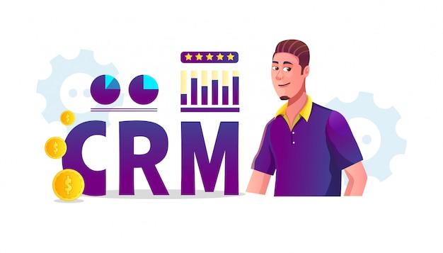 Ilustração do conceito de crm (gestão de relacionamento com o cliente) com estatísticas empresariais e clientes homens adultos estão revendo