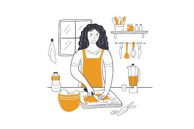 Ilustração do conceito de culinária, limpeza e cozimento de alimentos