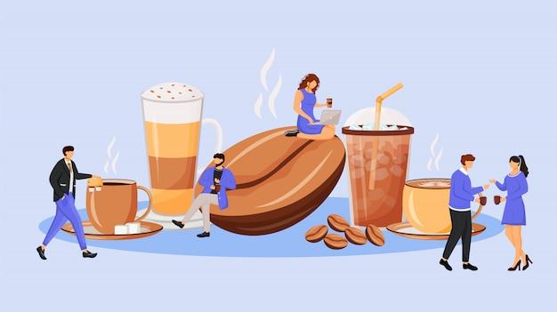 Ilustração do conceito de cultura de café. mulher e homem falando sobre bebidas. empregados corporativos em personagens de desenhos animados de pausa para web. reunião para a ideia criativa de café