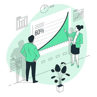 Ilustração do conceito de curva de crescimento