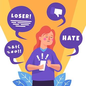 Ilustração do conceito de cyber bullying