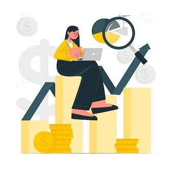 Ilustração do conceito de dados de investimento