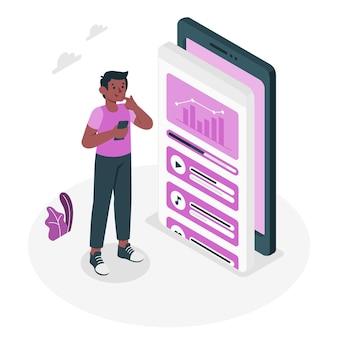 Ilustração do conceito de dados do aplicativo