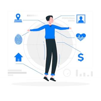 Ilustração do conceito de dados pessoais