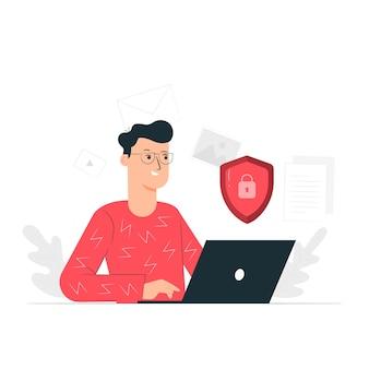 Ilustração do conceito de dados seguros