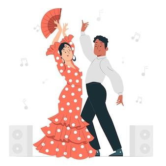 Ilustração do conceito de dança flamenca