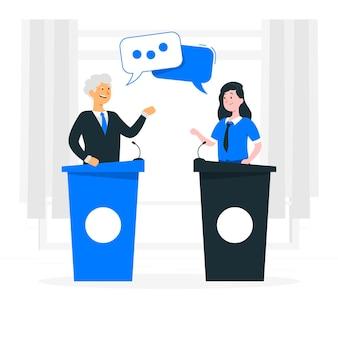 Ilustração do conceito de debate político