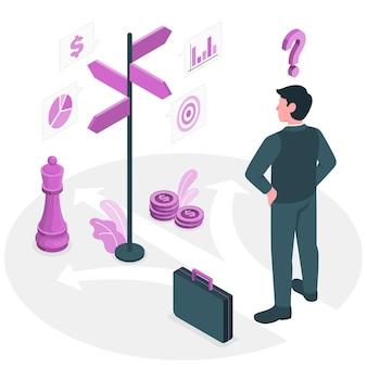 Ilustração do conceito de decisões de negócios