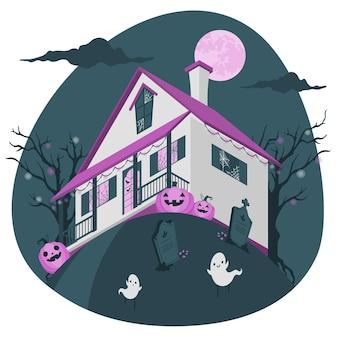 Ilustração do conceito de decoração de halloween em casa