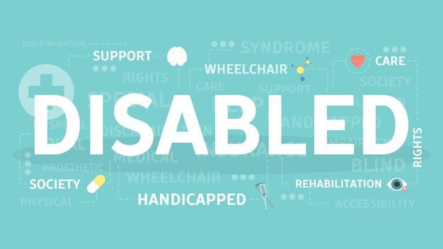 Ilustração do conceito de deficiente. ideia de sociedade e saúde.
