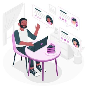 Ilustração do conceito de desejos online