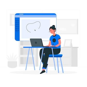 Ilustração do conceito de desenhador menina
