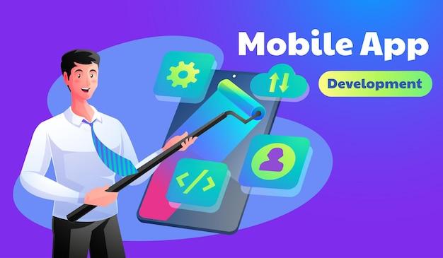 Ilustração do conceito de desenvolvimento de aplicativo móvel