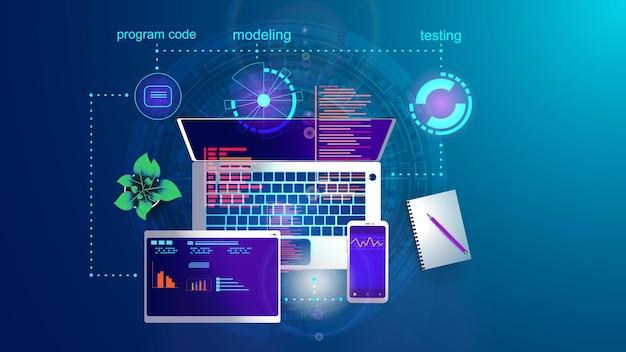 Ilustração do conceito de desenvolvimento de aplicativos de internet móvel