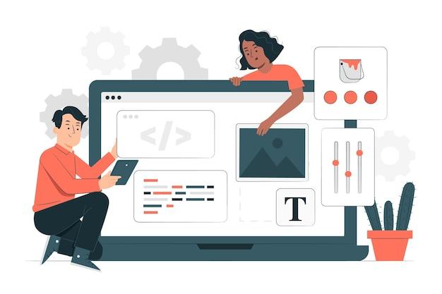 Ilustração do conceito de desenvolvimento de baixo código