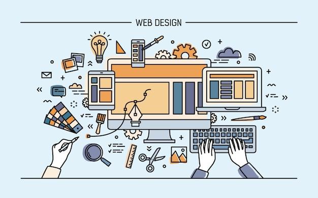 Ilustração do conceito de desenvolvimento web