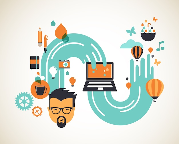Ilustração do conceito de design, criativo, ideia e inovação