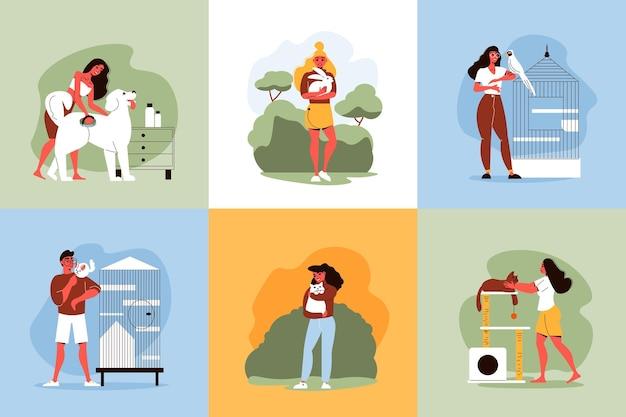 Ilustração do conceito de design de animais de estimação de pessoas