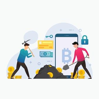Ilustração do conceito de design de bitcoin de mineração