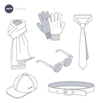 Ilustração do conceito de design de estilo de linha fina de acessórios masculinos