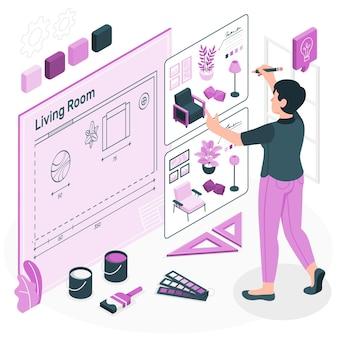 Ilustração do conceito de design de interiores