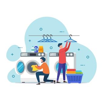 Ilustração do conceito de design de serviço de lavanderia