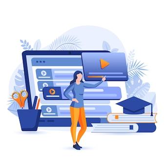 Ilustração do conceito de design plano com tutoriais em vídeo