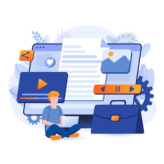 Ilustração do conceito de design plano de agência criativa