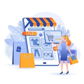 Ilustração do conceito de design plano de compras online