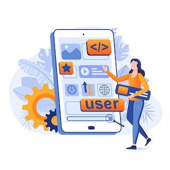 Ilustração do conceito de design plano de desenvolvimento de aplicativos