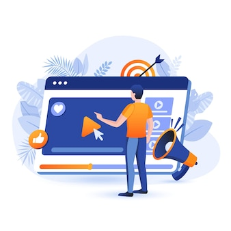 Ilustração do conceito de design plano de marketing de vídeo