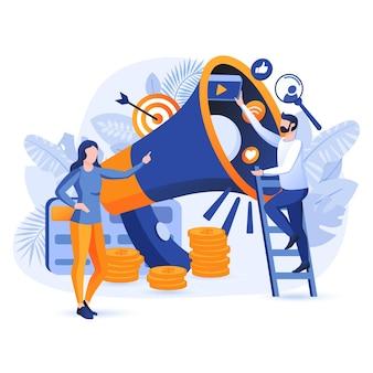 Ilustração do conceito de design plano de marketing digital