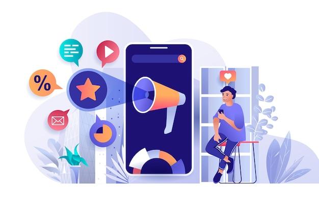 Ilustração do conceito de design plano de marketing móvel de personagens de pessoas
