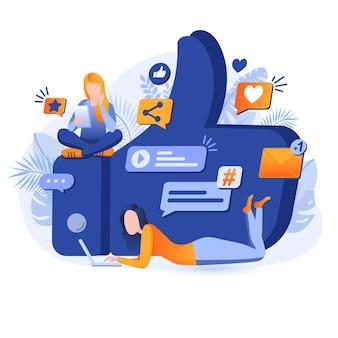 Ilustração do conceito de design plano de mídia social