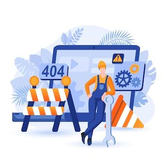 Ilustração do conceito de design plano de site em construção