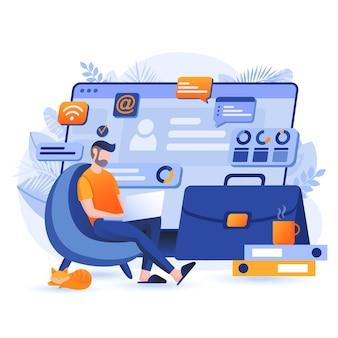 Ilustração do conceito de design plano de trabalho freelance e remoto