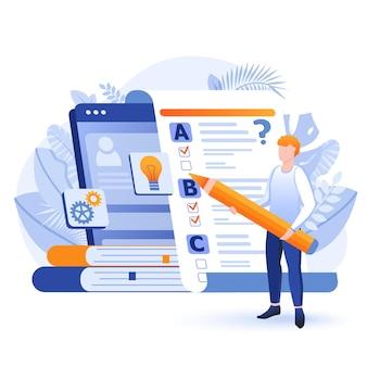 Ilustração do conceito de design plano para teste on-line